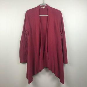 Eileen Fisher Long Dk Red Open Cardigan - Size XL
